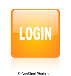 login orange square glossy web icon
