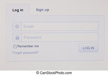 Login page of a web site