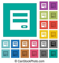 Login panel square flat multi colored icons