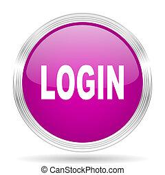 login pink modern web design glossy circle icon