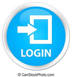 Login premium cyan blue round button