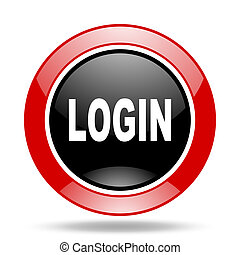 login red and black web glossy round icon