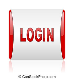 login red and white square web glossy icon