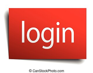 login red paper sign on white background