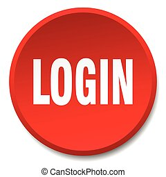 login red round flat isolated push button
