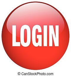 login red round gel isolated push button
