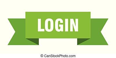 login ribbon. login isolated sign. login banner