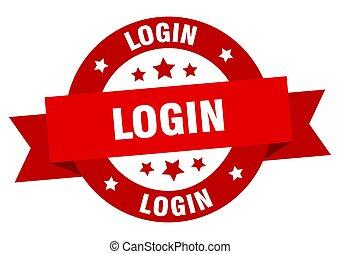 login ribbon. login round red sign. login