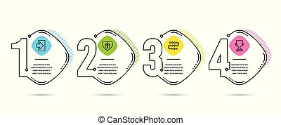 Login, Romantic gift and Methodology icons. Award cup sign. Sign in, Surprise with love, Development process. Vector