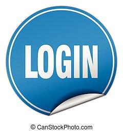 login round blue sticker isolated on white