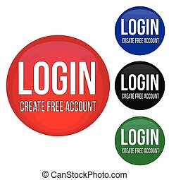 Login round glossy buttons set