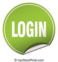 login round green sticker isolated on white