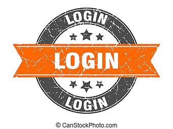 login round stamp with orange ribbon. login