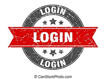 login round stamp with red ribbon. login