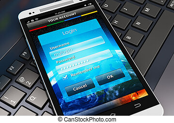 login, schermo, su, smartphone