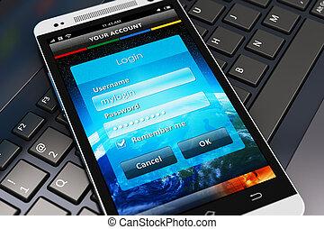 login, schirm, auf, smartphone