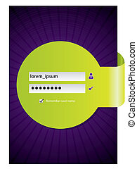 Login screen design with green ribbon