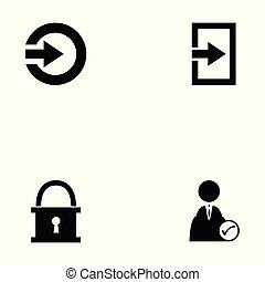 login, set, pictogram