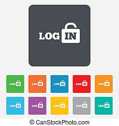 Login sign icon. Sign in symbol. Lock.