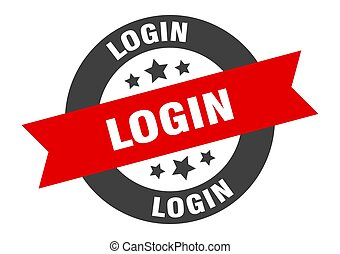 login sign. login black-red round ribbon sticker