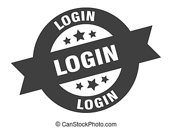 login sign. login black round ribbon sticker