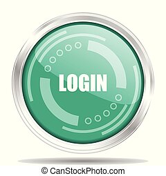 Login silver metallic chrome border round web icon, vector illustration for webdesign and mobile applications isolated on white background
