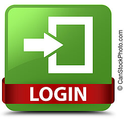 Login soft green square button red ribbon in middle