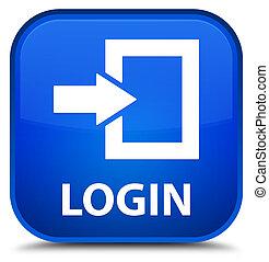 Login special blue square button
