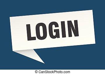 login speech bubble. login sign. login banner