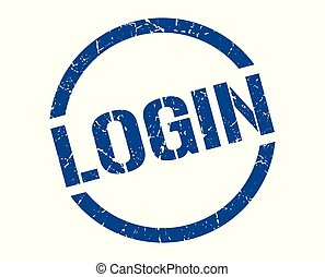 login stamp - login blue round stamp