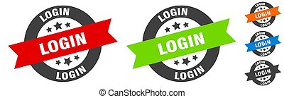login stamp. login round ribbon sticker. tag