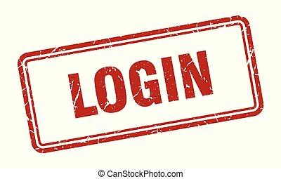 login stamp. login square grunge sign. login
