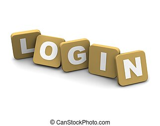 Login text. 3d rendered illustration isolated on white.