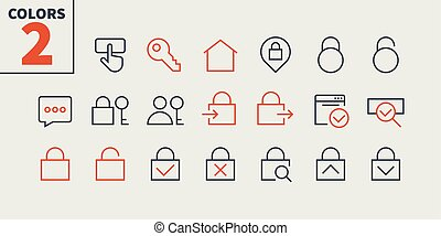 Login UI Pixel Perfect Well-crafted Vector Thin Line Icons...