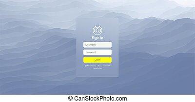 Login user interface. Modern screen design for mobile app and web design. Website element. Vector illustration.