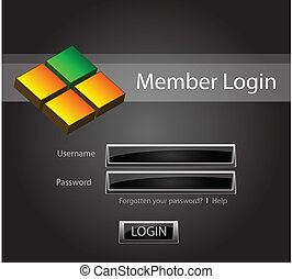 Login vector background with glossy buttons and 3D object