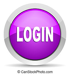 login violet glossy icon on white background