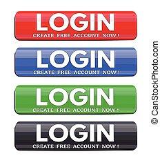 Login website glossy buttons set
