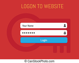 Login website template flat design.