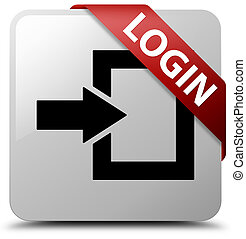 Login white square button red ribbon in corner