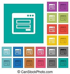 Login window square flat multi colored icons