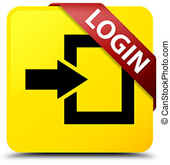Login yellow square button red ribbon in corner