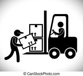 logistic, ícone, forklift, desenho
