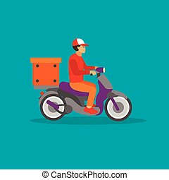 Logistic and delivery courier service concept banner. Vector illustration in flat style design. Deliveryman on a scooter shipping food orders.