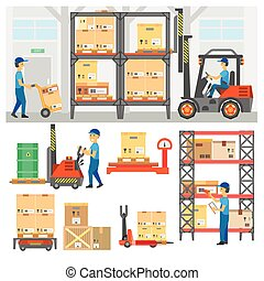 Logistic and delivery service set. Warehouse center and ...