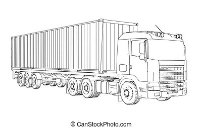 Logistic by Container truck. Vector rendering of 3d. Wire-frame style