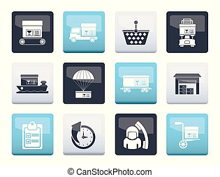 Logistic, cargo and shipping icons over color background