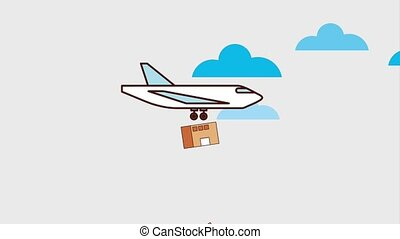 logistic cargo service - logistic airplane and cardboard...
