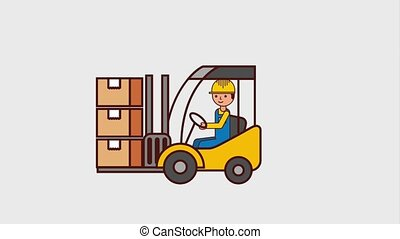 logistic cargo service - logistic man driving forklift...
