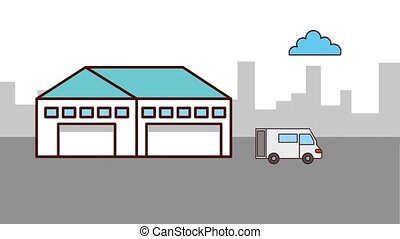 logistic cargo service - warehouse logistic with truck...
